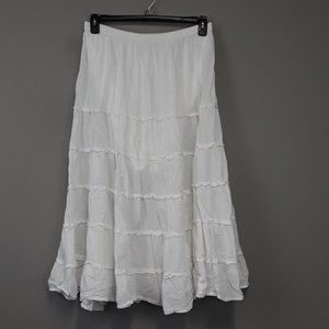 Christopher & Banks White Ruffle BOHO Skirt